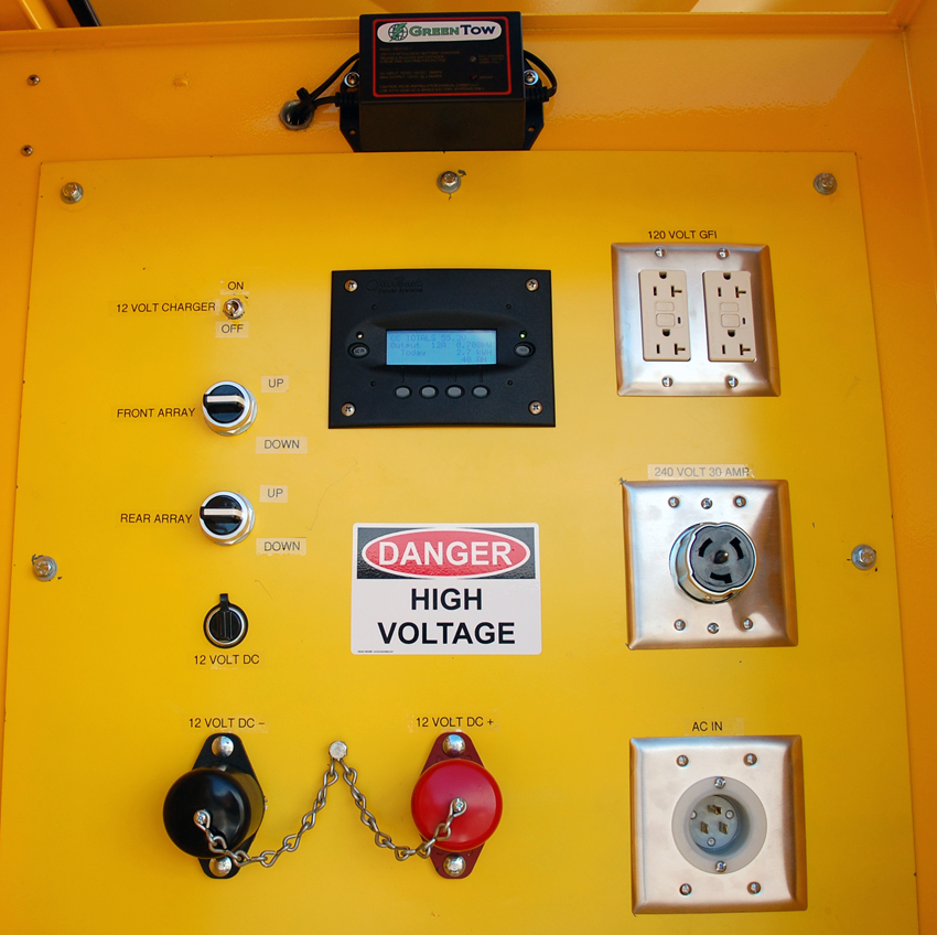 GreenTow mobile solar trailer control panel